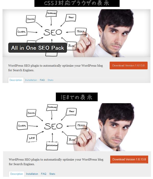 CSS3部分のブラウザ間の表示の違い