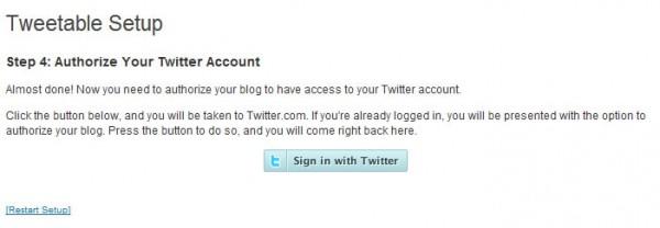 Twitterにログインします。 tweetableの設定
