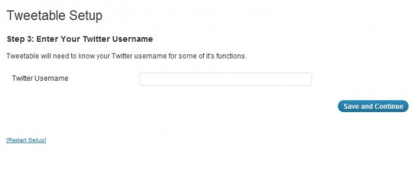 twitterアカウント名を入力します。 tweetableの設定